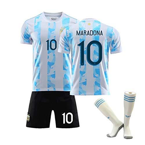 XZHU Diego Maradona # 10 Trikot - Argentinien Heimfußballtrikot, Vintage Argentinien Fußballanzug, Gedenk-T-Shirt,with Socks,2XL
