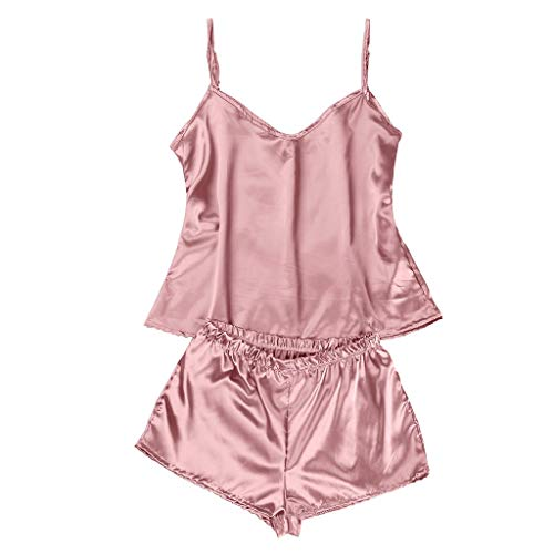 Drfoytg Two Piece Pajama Satin Set Lingerie Silk Women Sleepwear Top Shorts S-XLby Pink