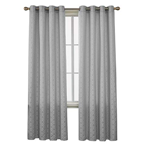 Deconovo Decorative Room Darkening Morrocan Curtains for Bedroom Textured Jacquard Curtains 52x95 Inch Length Silver Grey Set of 2
