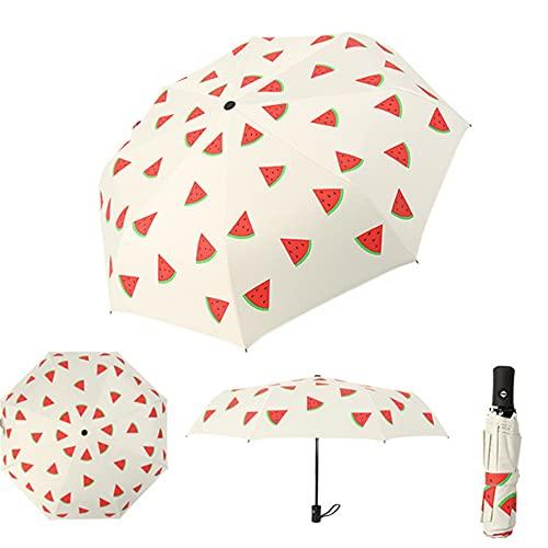 Paraguas plegable de viaje, de secado rápido, paraguas plegable automático, paraguas UV resistente a la intemperie, barra de mango ergonómico.