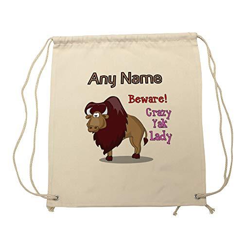 UNIGIFT Sac Personnalisable avec Inscription « Crazy Yak Lady » Blanc