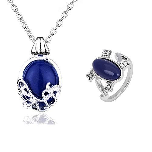 JinYu 2 Set Unisex Vampire Diaries Elena Sapphire Crystal Daylight Ring und Katherine Sapphire Crystal Anhänger Daywalking Halskette