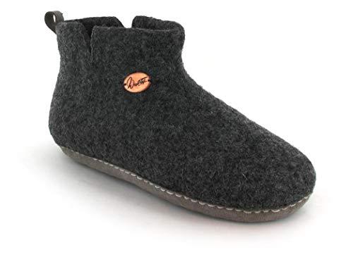 WoolFit Yeti - kuschlig warme Filz-Boots aus 100% Wolle für Damen & Herren - kunstvoll handgefilzte Hüttenschuhe mit Flexibler Ledersohle & selbstformendem Fußbett, Graphit, Größe 37