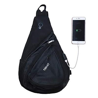 TINYAT Sling Bag Chest Bag Travel Casual Crossbody Shoulder Bag