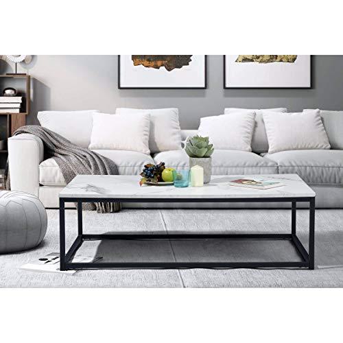 FURNISH1 Moderner Couchtisch, Wohnzimmertisch, Couchtisch, Tischplatte mit Marmor-Finish, Gestell aus Metall, Schwarz, Schutz des Fußbodens, 110 x 60 x 34 cm