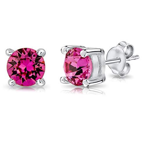DTPsilver - Semental Pendientes/Aretes de Plata de Ley 925 con Cristal Swarovski Elements Minúsculo Redondo - Diámetro: 6 mm - Color: Rosa