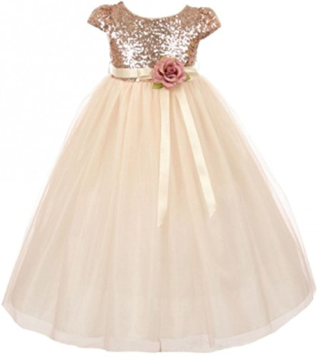 Little Girls Dress Cap Sleeve Sequin Bodice Flower Pageant Party Flower Girl Dress Blush Size 2 (K20K79)