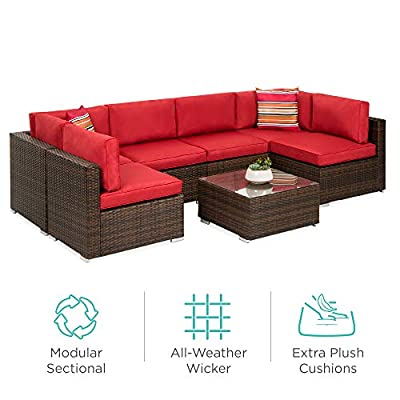 Best Choice Products 7-Piece Modular Outdoor Conversational Furniture Set, Wicker Sectional Sofas w/Cover - Brown/Red