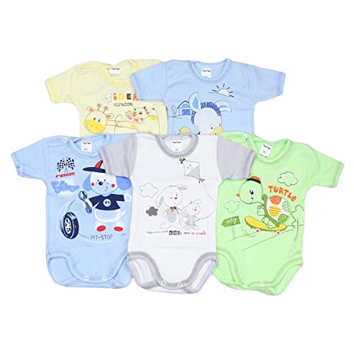 TupTam Unisex Baby Kurzarm-Body mit Aufdruck Spruch 5er Set, Farbe: Junge, Größe: 74