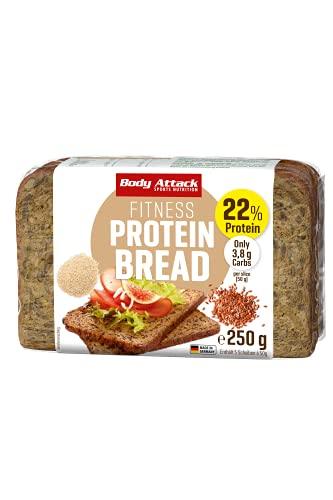 Body Attack Protein Bread, Eiweißbrot mit reduziertem Kohlenhydratanteil, für eine eiweißreiches Mahlzeit, nur 3,8g KH und 11g Eiweiß pro Scheibe, Hergestellt in Deutschland (3 x 250g)