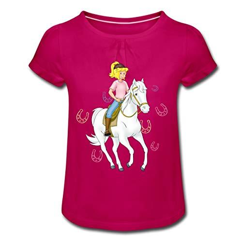 Bibi Und Tina Bibi Reitet Auf Sabrina Mädchen T-Shirt mit Raffungen, 6 Jahre, Fuchsia