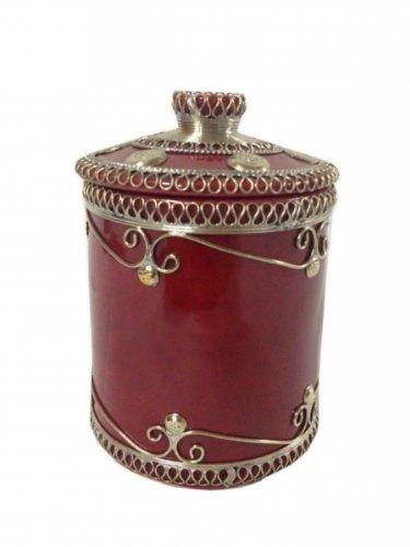 Unbekannt Marokkanische Zuckerdose Keramik Bordeaux