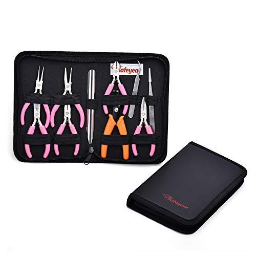 SAFEYEAR Juego de alicates utilitarios, 10 piezas, para hacer joyas, reparar dispositivos electrónicos con bolsa
