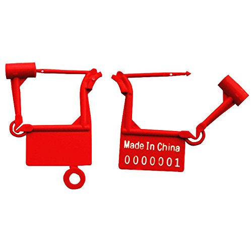 Leadseals(R) Tamper Proof Disposable Self-Locking Plastic Luggage Security Padlock Seals Numbered (Pack of 100 PCS) (Red)