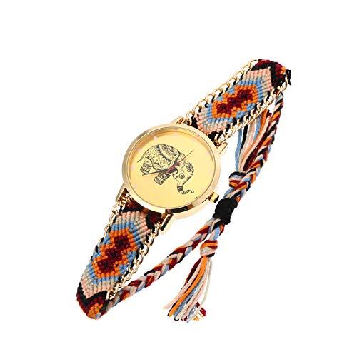 Baluue Elefante Pulsera Mujer Reloj de Pulsera Colorido Cuerda Pulsera Reloj Pulsera
