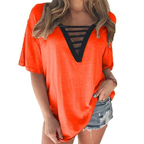 Kurzärmliges T-Shirt V-Ausschnitt Sommer Damen Hollow Multicolor Large Size Top