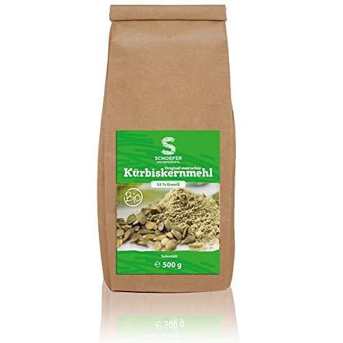 Bio mączka z pestek dyni częściowo olejowana – bezglutenowa – 55% białka – mielone pestki dyni odolejowane – mąka dyni do pieczenia i gotowania 500 g