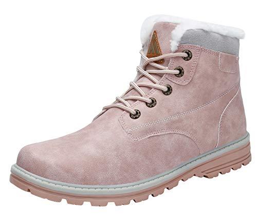 Mishansha Botas de Nieve Cálido Mujer Zapatos de Invierno Impermeables Botines con Cordones Antideslizante Outdoor, Rosa-2, 42 EU