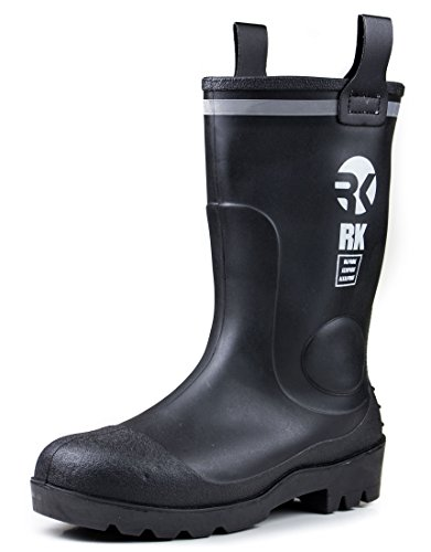 RK Mens Waterproof Rubber Sole Rain Boots, Black, Size 9.0