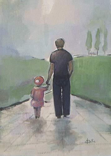 Pintura DIY por Números para Adultos Kits de Pintura a Óleo de Lona Infantil com Pincéis e Pigmento Acrílico -Pai e filha caminhando 40x50cm (sem moldura)