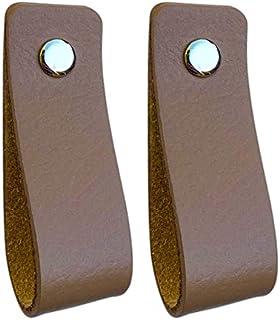 Tiradores de Cuero   Gris Pardo / 2 piezas   16,5 x 2,5 cm   Piel de Granos   3 tornillos de color - tiradores para Accesorio de Mobilario, armario, cajón, puerta