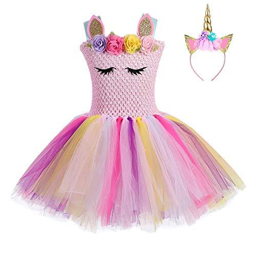 FONLAM Vestido de Bautizo Fiesta Niña Disfraz de Unicornio Princesa Tutú Vestido Infantil Flores Carnaval Niña (7-8 Años, Rosa)