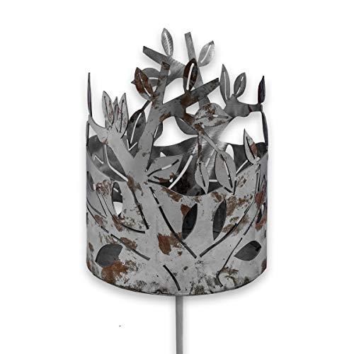 SHACAMO Edelrost-Gartenfackel ca. 1,30 m groß, Verschiedene Designs (Blätter)