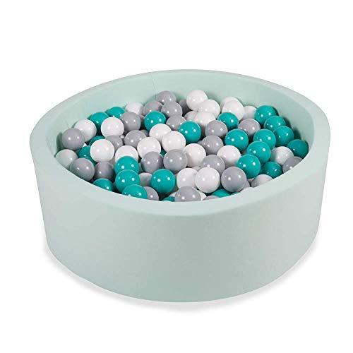 Angelove Piscine À Balles 90x30cm/200 ⌀ 7cm Balles Ronde en Mousse pour Bébé Enfant Menthe: Turquoise/Gris/Blanc