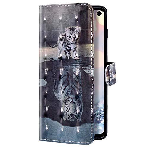 Uposao Kompatibel mit Samsung Galaxy A51 Hülle Glitzer Bling Glänzend Bunt Leder Handyhülle Brieftasche Wallet Case Flip Schutzhülle Tasche Klapphülle Magnetisch Kartenfach,Tiger Katze