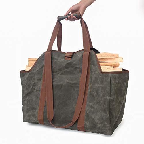 Haplws Dual-Use Firewood Storage Bag Portable Waterproof Log Carrier Portable Waxed Canvas Wear-Resistant Logging Bag