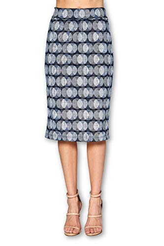 Women's High Waist Knit Stretch Multi Print Office Pencil Skirt (S-3XL) -Made in USA (Navy White, X-Large)