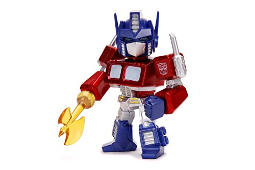 Jada Toys 'Transformers G1 Optimus Prime Light-Up 4'' Die-cast Metal Collectible Figure, Toys for Kids and Adults