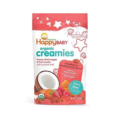 Happy Baby Organic Creamies Freeze-Dried Veggie & Fruit Snacks with Coconut Milk Strawberry Raspberry & Carrot, 1 Ounce Bag Dairy Free Baby or Toddler Snacks, Organic Non-GMO Gluten Free Kosher