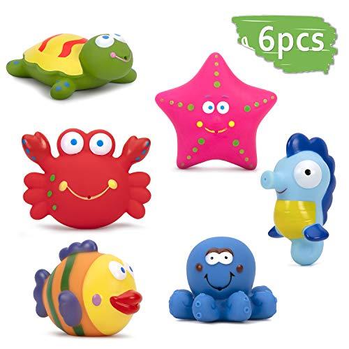 ZWOOS - Giochi da Bagno per Bambini Giocattoli 6 Pezzi Giocattoli da Bagno Morbidi Galleggianti per Bambini con Creature Marine per Bambini Vasca da Bagno o Piscina