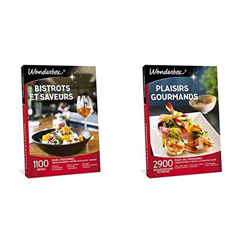 Wonderbox Coffret Cadeau Bistrots et Saveurs pour Couple & Coffret Cadeau Plaisirs Gourmands