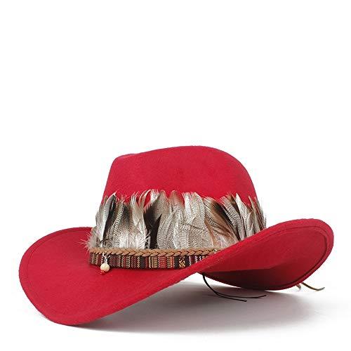 XinQuan Wang Hombres Mujeres Sombrero de Vaquero Occidental con Pluma
