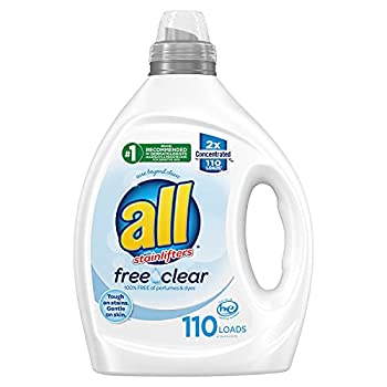 all Liquid Laundry Detergent Free Clear for Sensitive Skin 2X Concentrated 110 Loads