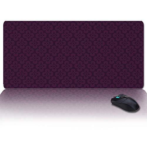 Large Gaming Mouse Pad Full Desk Pad-Retro Purple Flower Pattern,Non-Slip Rubber Base Ergonomic XXL Keyboard Mat for Laptop/Computer/Desk Accessories