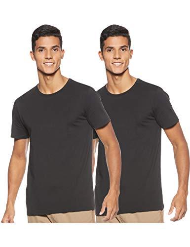 Jack & Jones Mens 2 Pack Crew Neck Cotton T-Shirts Black Medium
