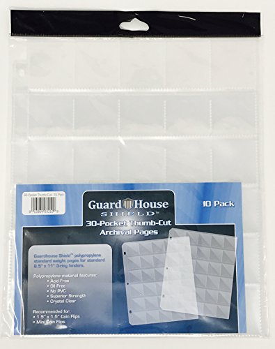 """30 Pocket Thumb-Cut Coin Storage Pages for 1.5"""" x 1.5"""" Flips & Mini Coin Flips; Archival Polypropylene Pages by Guardhouse Shield - Pack of 10"""