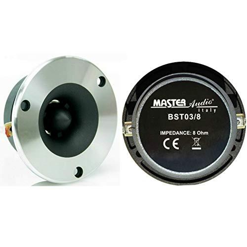 2 Super Tweeter Master Audio BST03/8 con 120 vatios rms y 240 vatios máx con 9,60 cm de diámetro 99 db 8 ohmios en casa con Profundidad de Solo 3,60 cm, el par