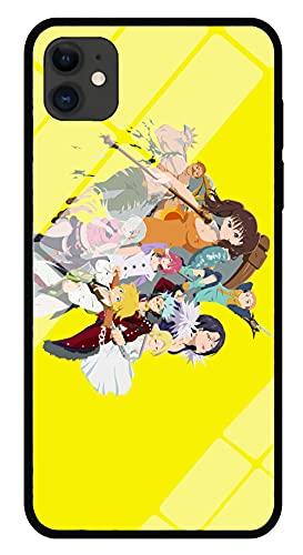 Anime The Seven Deadly Sins - Estuche para Teléfono con Imagen Estuche para iPhone con Brillo Nocturno Carcasa Protectora De Vidrio Templado Moda Compatible con iPhone 8