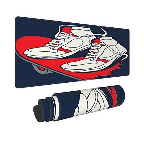 Extra Groß Mauspad mit Genähten Kanten,XL-75 x 40 x 0.3cm,Skateboard Skater Sneakers Skateboarding Grafikdesign,Schreibtisch Mat Personalisiert für Die Arbeit Spiel Büro Computer Laptop