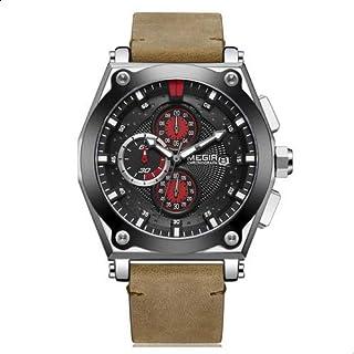 Megir ML2098GS-BKBN-1 Leather Round Analog Watch for Men - Light Brown