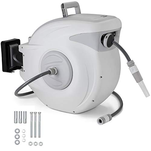 TRESKO Auto Garden Hose Reel 30m + 2m | Wall-Mounted Hose Box | Roll-up Automatic | Wall bracket, with Quick Release Connectors and Spray Nozzle