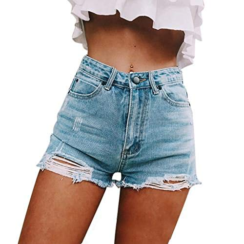 Unterhosen Damen Pantys Damen Mode Ripped Frayed Hole Denim Shorts Sommer Frauen High Waist Jeans Hot Pants S Lightblue