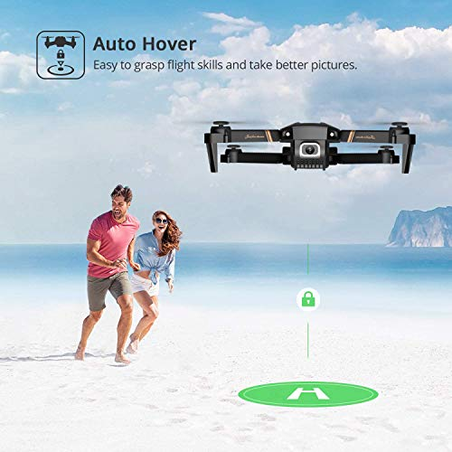 4DRC V4 Foldable Drone with 1080p HD Camera for Adults Kids, Quadcopter with Wide Angle FPV Live Video, Trajectory Flight, App Control,Optical Flow, Altitude Hold and 2 Modular Batteries