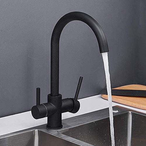 Raelf Grifo mezclador de cocina giratorio 360° 2 palanca grifo 3 vías grifo de cocina granito negro mezclador para agua potable de latón para sistema de filtración de agua