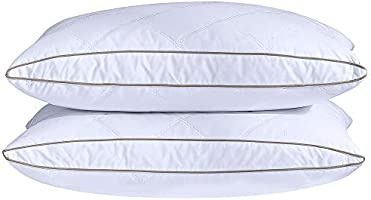 puredown Natural Goose Down Feather Pillows for Sleeping Oval Gusseted Down Pillow 100% Cotton Pillow Cover with Leaf...