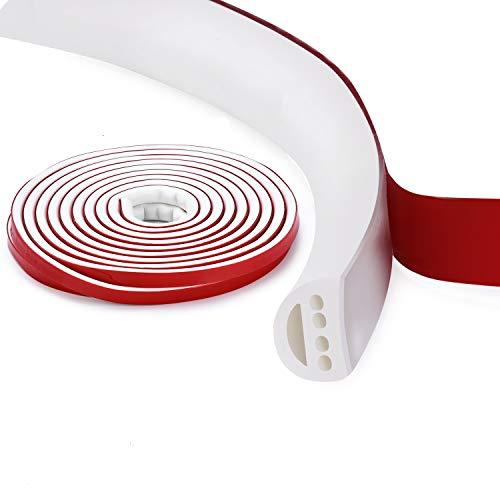 Qishare Tira de Silicona Tira de Sellado de Diseño de Múltiples Orificios Para Puertas y Ventanas, Anticolisión, Insonorizada, Impermeable, a Prueba De Polvo, a Prueba De Viento, 6M(D9*8mmx1, Blanco)